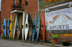 Lined up canoes