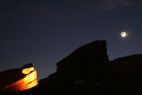Red Rocks Under a Crescent Moon